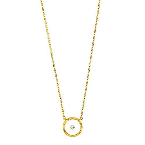 Jouailla Halskette Gliederkette 9 Karat (375) Gold Diamant 0,05 Karat umrandet auf einem Harzboden (397148)