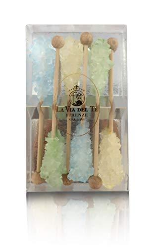 La Via del Te 6 Bastoncini di Zucchero di Canna in Cristalli, Colorati, Peso Netto Tot: 70g