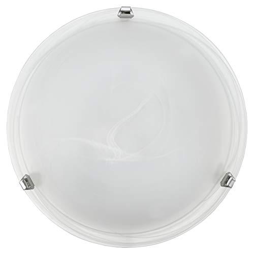 EGLO Deckenlampe Salome, 1 flammige Deckenleuchte klassisch, Wohnzimmerlampe aus Metall und Alabaster-Glas, Küchenlampe in Chromfarben, Weiß, Flurlampe Decke mit E27 Fassung, Ø 30 cm
