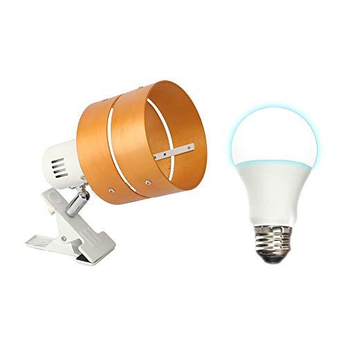 共同照明 クリップライト E26 デスクライト LED電球50W形付き 昼光色 ナチュラル GT-SETTD-MQJZ-W-7WE26 電気スタンド クリップ 間接照明 スイッチ付き 2環ウッドシェード おしゃれ コンセント式 インテリア照明 作業ライト
