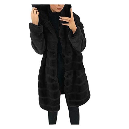 Realde Maniche Lunghe in Pelliccia Sintetica A Prova di Vento Cappotto Media Lunghezza da Donna Peluche con Cappuccio Cappotto Ispessimento Termico Cappotto Autunno Inverno Cappotti