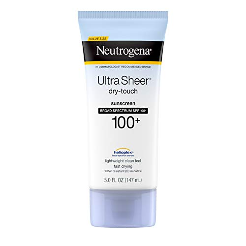 Neutrogena Ultra Sheer Dry-Touch Sunscreen Lotion, Broad Spectrum SPF 100 UVA/UVB Protection, Lightweight Water Resistant, Non-Comedogenic & Non-Greasy, 5 fl. oz