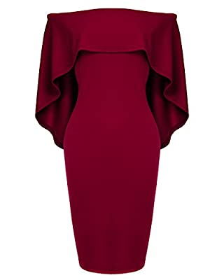 Womens Off The Shoulder Cocktail Party Dress Batwing Cape Midi Dress