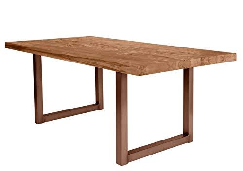 LaNatura Tables&Co Tisch 220x100 Balkeneiche Natur Eisengestell Braun