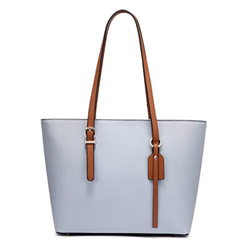 LOVEVOOK Handtasche Shopper Damen PU Leder Umhängetasche Shopper Tasche Tote Taschen Groß Elegant Schultertasche für Büro Schule Einkauf - Hellblau