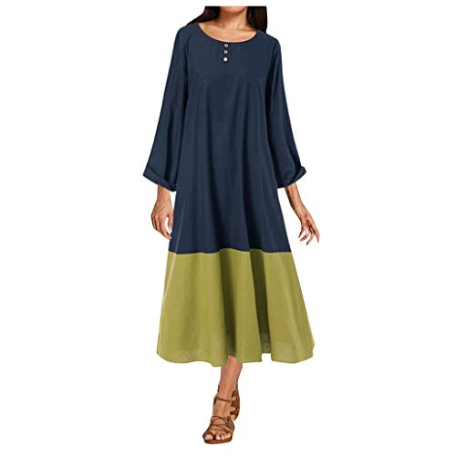 New CCOOfhhc Maxi Dresses,Women's Casual Dress Long Sleeves Button Crew Neck Plain Party Long Dress ...