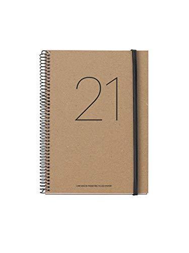 MIQUELRIUS - Agenda 2021 100% RECICLADA Year - Español, Día Página, Tamaño 155 x 213 mm (~A5), Papel 70g, Cubierta Rígida Cartón Forrado, Color Craft