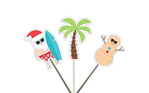 Christmas in July Cupcake Toppers, Beach Christmas, surfing Santa Cupcake Toppers, XMAS in July, Snowman Party Decorations, xmas cupcake toppers, xmas cake toppers, ch party decor, xmas on beach, summer Christmas, July Christmas, BBQ Christmas, Santa Surfboard, Santa Beach, Summer Christmas