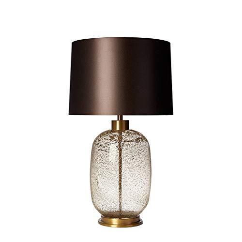 Slaapkamer bedlampje Modern licht luxe stijl glazen kap Tafellamp Button Schakelaar for slaapkamer Nachtkastje Living Room Office (Color : Cognac color, Size : S)