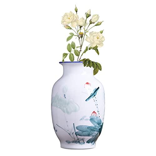 rzoizwko Florero de cerámica de porcelana azul y blanco, estilo antiguo chino Ming estilo, altura 33cm