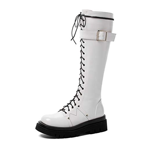 Women's Fashion Knee High Boot Ladies Classic Low Heel Platform High Boots, Round Toe Mid-Heel Side Zipper High Boots, Front Lace-Up Patent Leather Boots (Color : White, Size : 40 EU)