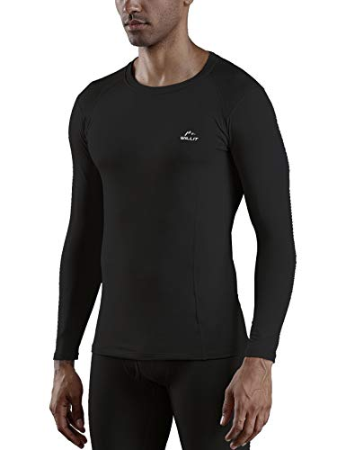 Willit Men's Thermal Underwear Top Fleece Lined Compression Shirts Midweight Base Layer Long Johns Black XXL