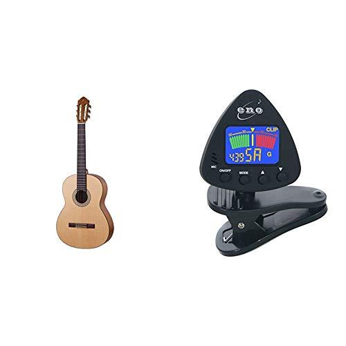 """Yamaha C40MII Guitarra Clásica Guitarra 4/4 de madera, 65 cm 25 9/16"""" + Eno Clip para afinador de guitarra y ukelele, Sintonizador de bajos y violín, Sintonizador cromático con batería incluida"""