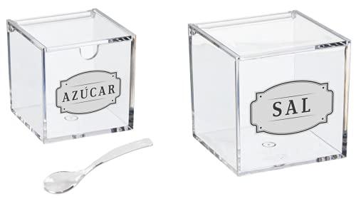 TIENDA EURASIA® Pack Salero y Azucarero de Cocina con Tapa y Cuchara - Fabricado en Material Acrílico - 10 x 10 x 10 cm y 8 x 8 x 8 cm (Sal y Azucar)