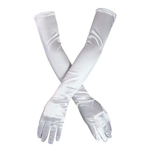 """DreamHigh Women's Party Wedding 21"""" Long Satin Finger Gloves White"""