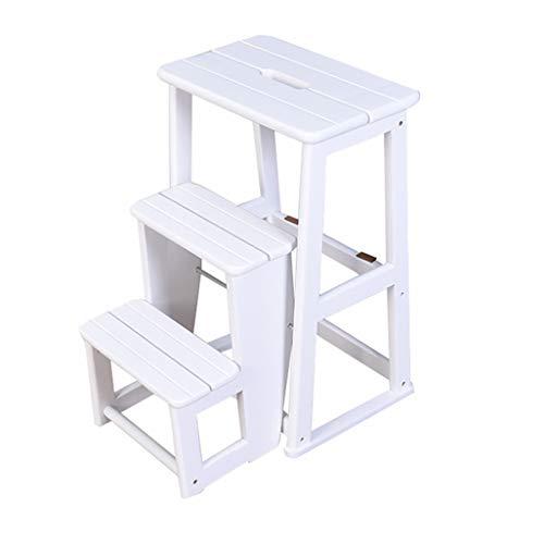 Pieghevole scala a 3 gradini Sgabello Scaletta, scala per uso domestico Sedia a sdraio in legno di quercia per bambini e adulti, attrezzo da giardino