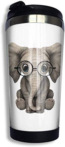 Qurbet Tazza da Viaggio da caffè, Elephant Glasses Coffee Cups Stainless Steel Bottiglia d'Acqua Cup Travel Mug Coffee Tumbler with Spill Proof Lid