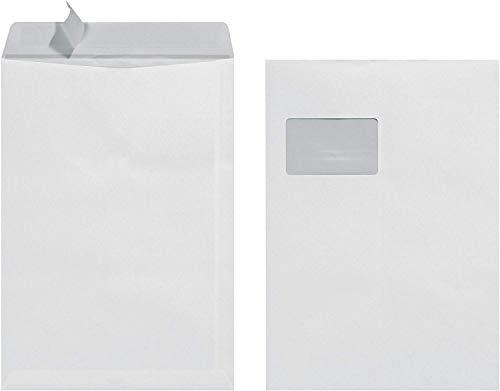 Herlitz Versandtasche C4 90 g Haftklebend mit Fenster, 25 Stück mit Innendruck in Folienpackung, eingeschweißt, weiß