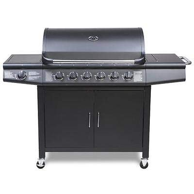 CosmoGrill barbacoa 6+1 Pro Gas Grill BBQ, negro