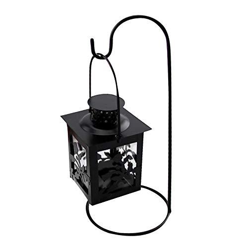 Gobck Kerzenständer Weinlese-Eisen Hexagon Leuchtturm Leuchter hängende Retro Laterne geschmiedet Kerzenständer Kristall Aufsatz- Dekoration (2)