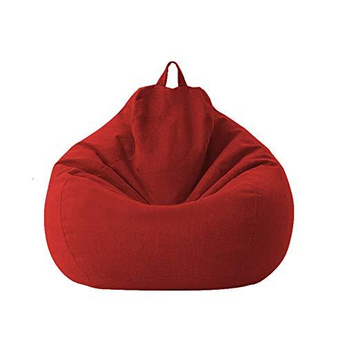 Geagodelia Funda para Sillón Puff Cubierta para Sofá Perezoso Fundas Clásicas de Puff Pera Bolsa de Frijol para Silla Tumbona Perezosa SIN Relleno para Adultos y Niños (Rojo, 100 * 120cm)