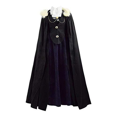 IDEALcos Frauen Diana Bischof Cosplay Kostüm Langes Kleid Mit Kapuze Mantel Hexen Komplettset für Halloween (S, Schwarz)