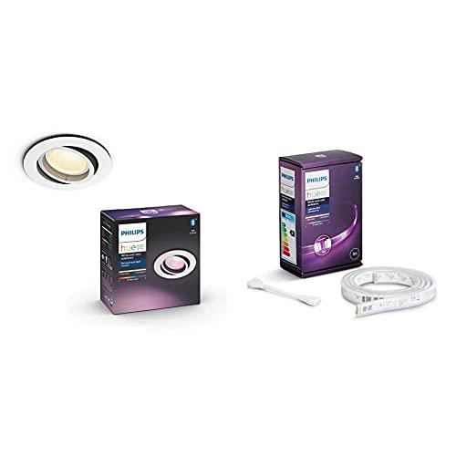 Philips Hue Plafón Centura 1 Foco LED Inteligente GU10, 5.7 W, Aluminio + Lightstrip Tira Inteligente LED 1m, con Bluetooth, Luz Blanca y Color, Compatible con Alexa y Google Home (extensión)