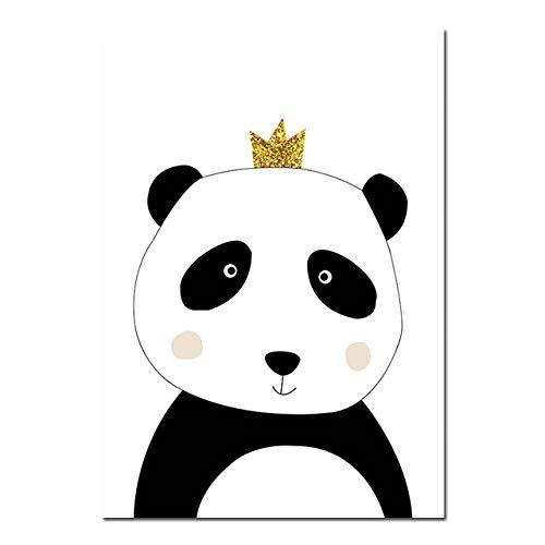LiMengQi2 Cartoon Panda Baby Elephant Canvas Posters, Nursery murals, Nordic Prints, Children's Decorating Pictures, Children's Bedroom Decorating(No Frame)