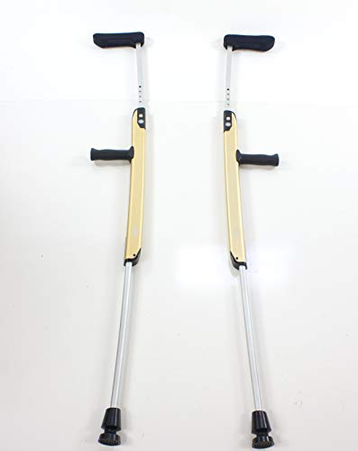 Voted #1 Crutch. Aelite Premium Aluminum Crutch with Patented one-Touch Adjustment Feature. Elegant Styling, Comfortable, Safe, Easy to use and Store. Retracted Length only 29