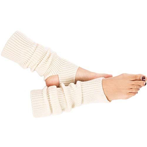 HeiHy Damen Winter Gestrickt Stulpen Beinstulpen Yoga Ballettstulpen Beinwärmer mit Fersenloch Weiß