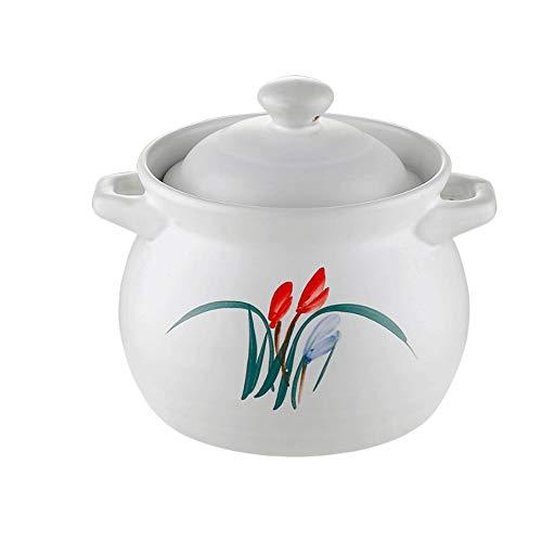 BAPYZ Claypot King Olla de orquídeas Blancas Cazuela de Alta Temperatura Olla de Sopa de cerámica de Fuego Abierto