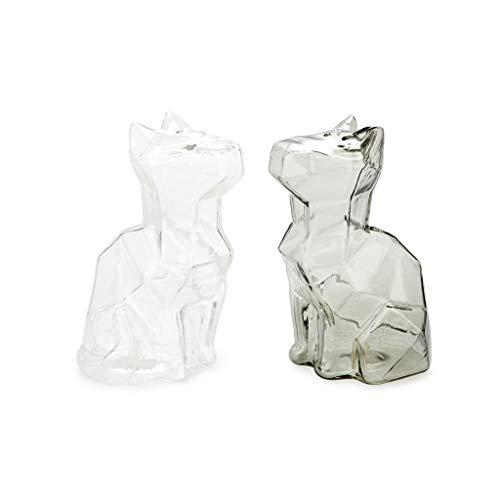 balvi Salz- und Pfeffer-Set Sphinx Farbe Transparent und Grau Salz- und Pfefferstreuer in Form Einer Katze Borosilikatglas 12 x 6,5 x 7,5 cm