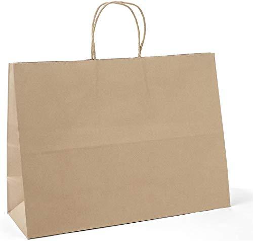 Switory Bolsa de papel Kraft de 25 piezas con asas, bolsa grande de regalo de compras marrón de 40x15x38cm con asas retorcidas para fiesta, embalaje, personalización, transporte, venta al por menor