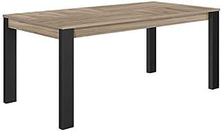 Tousmesmeubles Table de Repas à allonge Chêne Clair/Noir - Nina - L 180/236 x l 90 x H 76 - Neuf