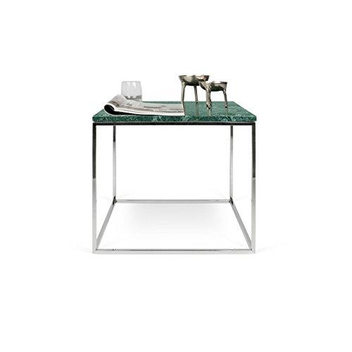 Paris Prix - Temahome - Table D'appoint Gleam 50cm Marbre Vert & Métal Chromé