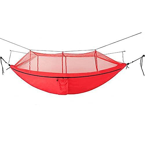GUOXIANG Hamaca de 260 x 140 cm, para exteriores, con mosquitera, capacidad de 150 kg, luz ultra ligera, transpirable, cómoda y rápida, para camping, senderismo, playa, jardín (rojo)