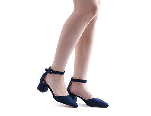 Greatonu Damen Sandalen Velour Knöchelriemchen Blockabsatz Sandalen Blau Größe 39EU - 5