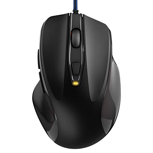 TedGem Mouse USB, Mouse con Filo, Mouse USB con Cavo 6 Pulsanti, Fino a 3200 dpi, Cavo Intrecciato da 1,5 m per Windows 7/8/10 / XP, Vista, Linux e Mac OS (Nero)