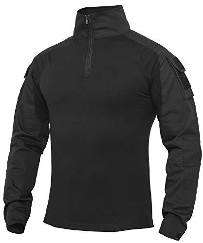 Wespornow Herren Taktisches Hemd Outdoor Shirt Kampfshirt für Militär und Airsoft, L, Schwarz