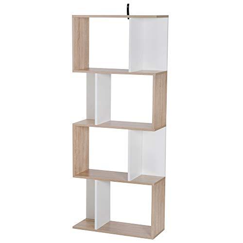 homcom Libreria di Design Scaffale Ufficio Legno Moderna 4 Ripiani 60×24×148cm