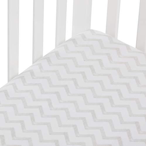 Andi Mae - Sábana para cuna (100% algodón jersey) – Acuarela gris Chevron – Se adapta a colchones estándar para cuna o niños pequeños