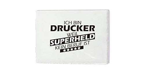 Keramikfliese 15x20cm, Ich bin Drucker weil Superheld kein Beruf ist