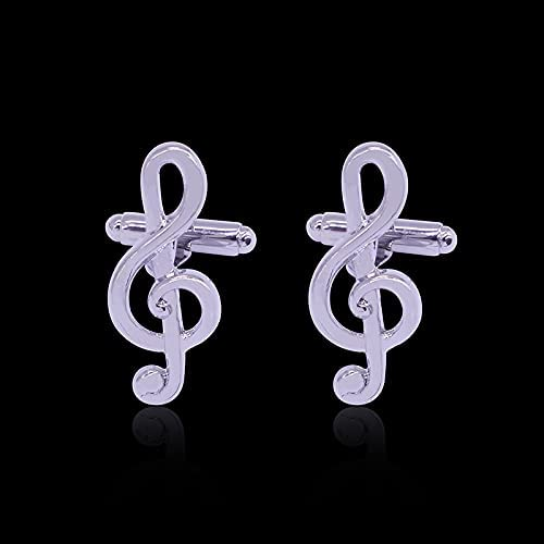 Fashion Elegant Classic White Musical Note Cufflinks for Men Stainless Steel Detachable Cufflinks Men's Luxurious Tuxedo Formal Shirts Wedding Business Official Single Sided Cufflinks Gifts