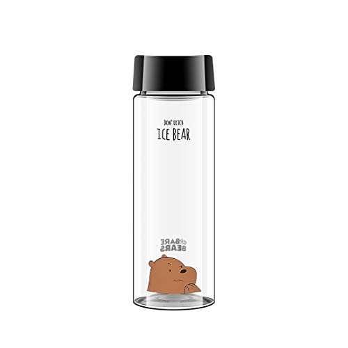 MINISO We Bare Bears Plastic Water Bottle 18oz Leak Proof PP Lid Drinking Bottle for Adults - Grizzly