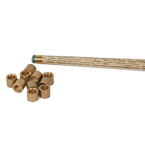 Laxmi Ganesh Billiard Brass Snooker or Pool Cue Tip Ferrules - 10 Pieces Steel Golden