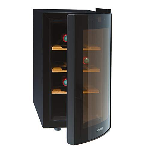 H.Koenig AGE8WV - Vinoteca 8 Botellas, Pequeña, Con Capacidad de 25 Litros, 70 W, Silenciosa, 41 dB, 3 Estantes de Madera, Panel Táctil, Luz LED, Puerta de Cristal, Acero Inoxidable, Negra.