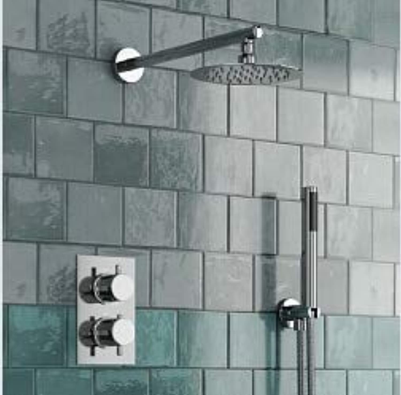 8 Ultra Thin Runde Thermostat-Duschsets 2-Wege-Bad Unterputz Wandmontage, Wei