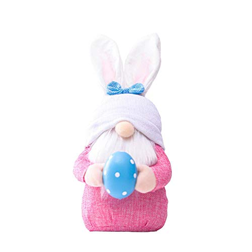 Lisa Bluebell Easter pink ears plaid bunny, dwarf doll elf doll, home decoration items (Pink)