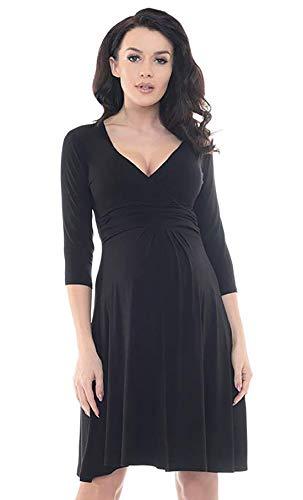 iloveSIA Damen Langarm Umstandskleid Knielang Schwangerschafts Kleid Stillkleid elegant Sommer Herbst schwarz M/gr. 42