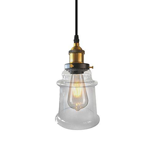 Iluminación de lámpara colgante industrial con sombra de vidrio transparente, alambre colgante ajustable Chandehouse Chandelier Bar techo Luces colgantes para la isla de cocina Restaurante Loft